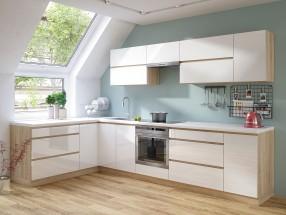 Kuchyně Line - 320x180 cm (bílá vysoký lesk/dub sonoma)