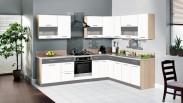 Kuchyně Marina pravý roh 285x210 cm (bílá vysoký lesk/grafit)