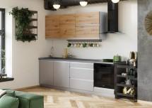 Kuchyně Metalica 260 cm (šedá, dub)