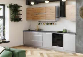 Kuchyně Metalica 320 cm (šedá, dub)