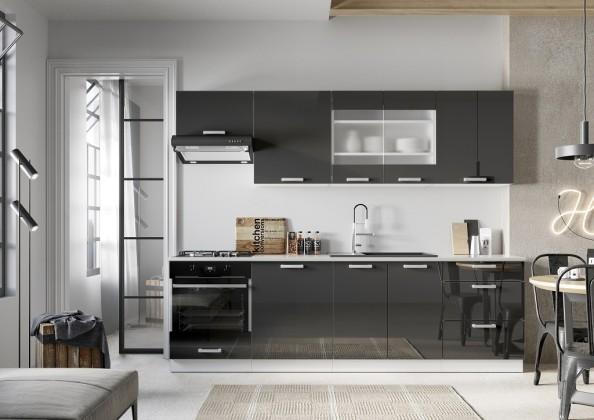 Kuchyně Vicky 260 cm (šedá lesk)