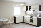 Kuchyňská linka Aneta - 270x160 (dub tmavý/vanilka/traini beige)