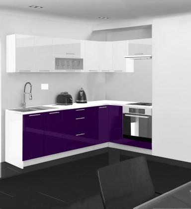 Kuchyňská linka Emilia - 250/150 cm L (bílo-fialová, PD bílá)