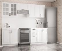 Kuchyňská linka Michelle - 180/240 cm (bílá/černá úchytka)
