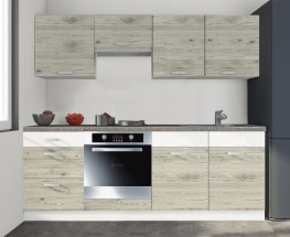 Kuchyňská linka Santis - 240cm (figaro/bílá,PD travertin tmavý)
