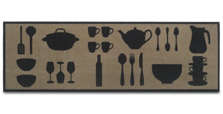 Kuchyňská předložka Dishes taupe (šedá)