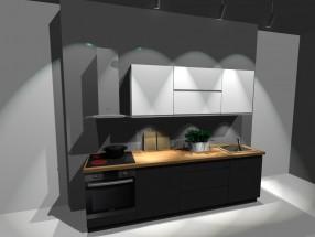 Kuchyňský blok Nina - 260 cm (bílo-šedá