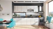 Kuchyňský blok Roxy -  300 cm (bílá/bílá lesk/PD vulkán)