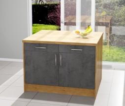 Kuchyňský ostrůvek Birgit 120x80 cm (tmavý beton, dub)
