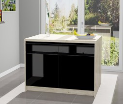 Kuchyňský ostrůvek Eugenie 120x80 cm (černá, vysoký lesk, javor)