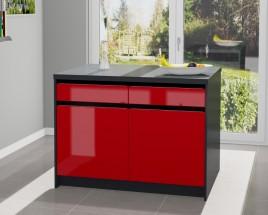Kuchyňský ostrůvek Eugenie 120x80 cm(červená,vysoký lesk,grafit)