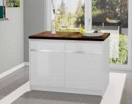 Kuchyňský ostrůvek Eugenie 120x80cm(bílá,vysoký lesk,dub oregon)