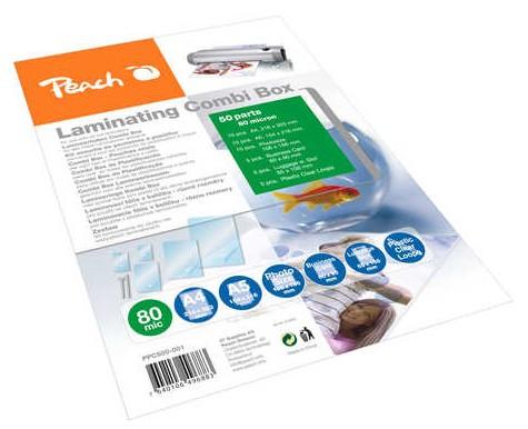 Laminátor Peach PPC500-02 set lesklých 10ks A4, 5ks A5, 5ks Fotosize, 5ks V