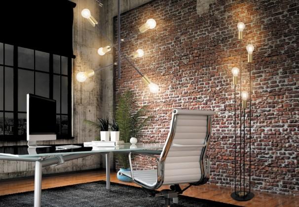 Lampy Stojací lampa Lens, kovová, 4 zdroje světla, 136 cm