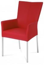 Lazy - Jídelní židle s područkami (broušená nerez/látka/PU)