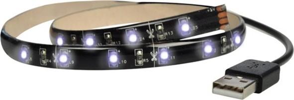 LED osvětlení Solight LED pásek pro TV,100cm,USB,vypínač,studená bílá,WM501