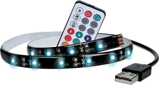 LED osvětlení Solight LED RGB pásek pro TV,100cm,USB,dálkový ovladač,WM503