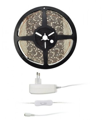 LED osvětlení Solight LED světelný pás 5m 12V + adaptér IP65 (WM51-65T)