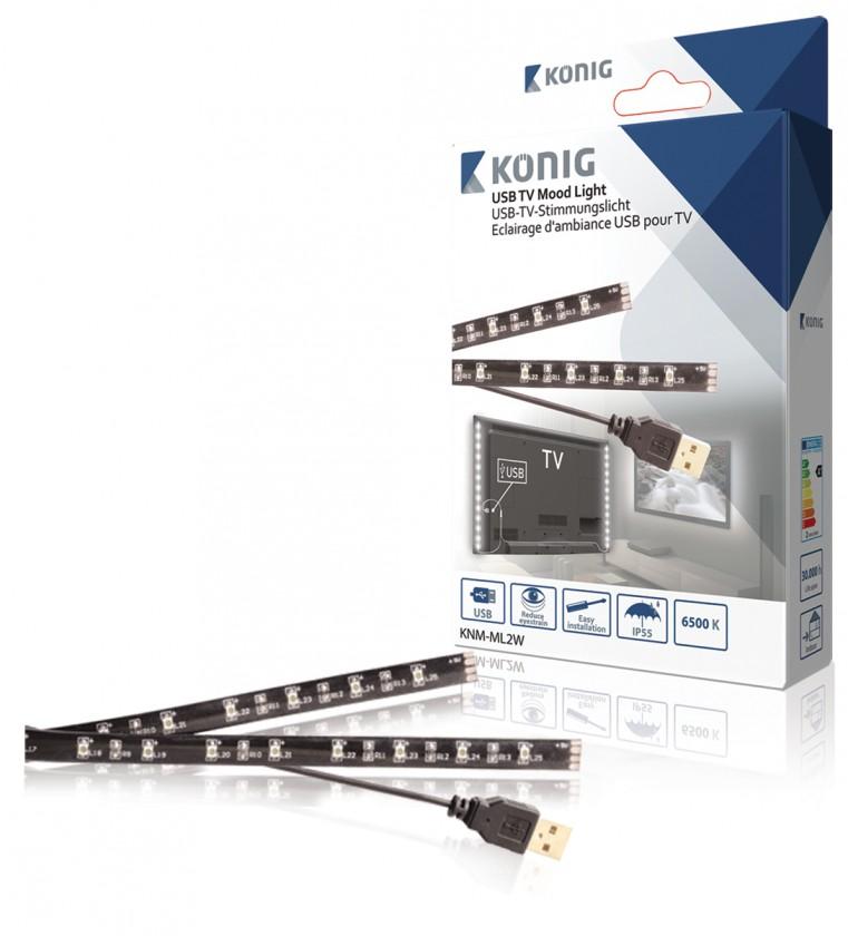 LED pásky USB TV náladové osvětlení, 2 LED pásky, 50cm, studená bílá