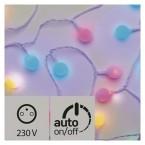 LED světelný cherry řetěz   kuličky 2,5cm, 4m, multic., čas.