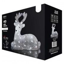 LED vánoční jelínek Emos ZY2275, venkovní, studená bílá, 31 cm