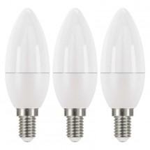 LED žárovka Emos ZQ32213, E14, 6W, svíčka, neutrální bílá, 3ks