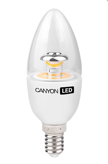 LED žárovky CanyonLEDCOBžárovka,E14,svíčka, průhledná,6W,teplá bílá