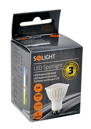 LED žárovky Solight LED žárovka, bodová , 5W, GU10, 4000K, 400lm, bílá