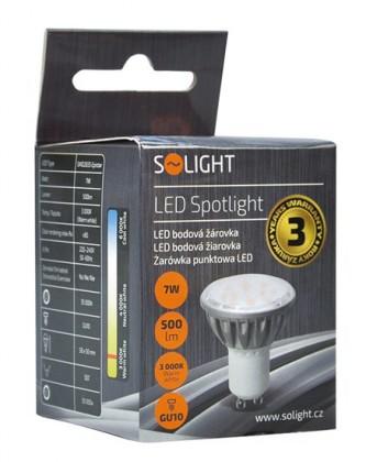 LED žárovky Solight LED žárovka, bodová , 7W, GU10, 3000K, 500lm, stříbrná