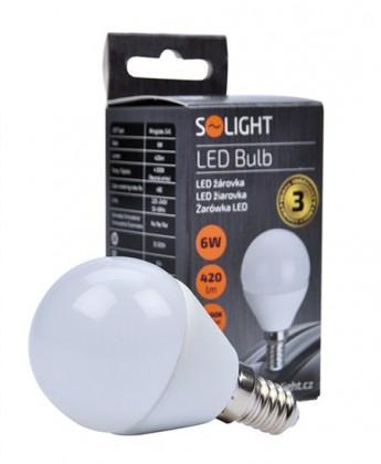 LED žárovky Solight LED žárovka,miniglobe,6W,E14,4000K,420lm,bílá