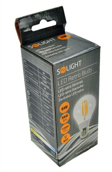 LED žárovky Solight LED žárovka WZ502 retro,klasický tvar,6W,E27,3000K
