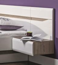 Leone - Noční stolek závěsný, pravý (dub trufel, bílá lesk)