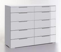 LevelUp D - Komoda, 10x zásuvka (bílá VL, bílá)