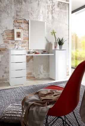 LevelUp D - Toaletní stolek, zrcadlo, 5x zásuvka (bílá VL, bílá)