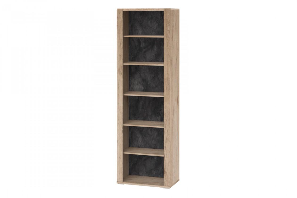 Levné skříně Regál Minneota - typ 13 (dub sanremo pískový/břidlice)