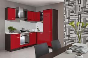 Lily -Kuchyňský blok, 220x170cm (dub tmavý/červená/traini beige)