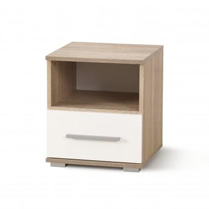 Lima - Noční stolek (dub sonoma, bílá)