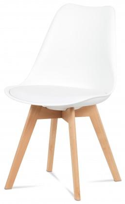 Lina - Jídelní židle bílá, plast + eko kůže