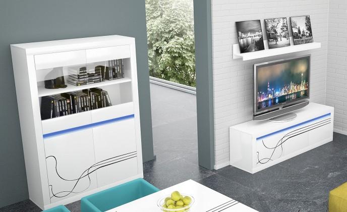 Lino - Obývací sestava, police, nízká komoda, vitrína (bílá)