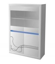 Lino - Vitrína, prosklená, LED osvětlení (bílá)