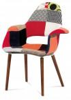 Lis - Jídelní židle s područkami (patchwork/ořech)