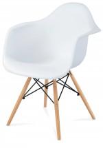 Lisa - Jídelní židle s područkami (plast bílý/masiv buk)