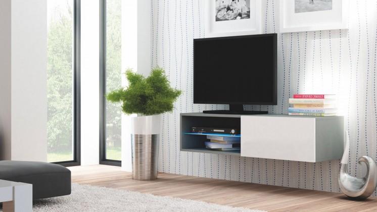 Livo - TV stolek 120 závěsný (šedá mat/bílá lesk)