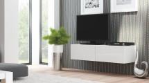 Livo - TV stolek 160 závěsný (bílá mat/bílá lesk)