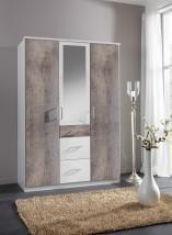 Loop - Skříň, klasické dveře + zrcadlo (alpská bílá, beton)