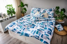 Ložní povlečení Abstract blue (modrá, bílá)