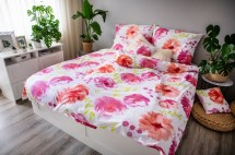 Ložní povlečení Flores pink (růžová, bílá)