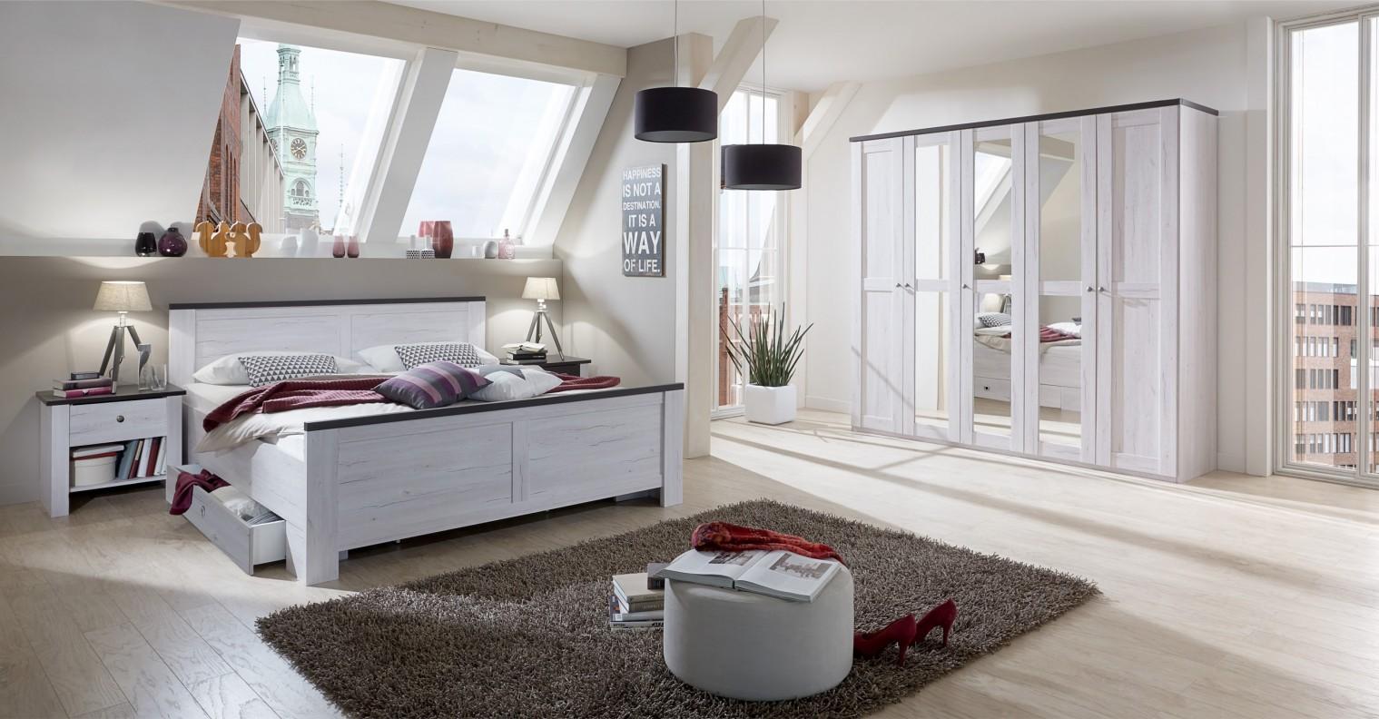 Ložnice ZLEVNĚNO Chateau - komplet velký, postel 180cm (dub bílý, lava černá)