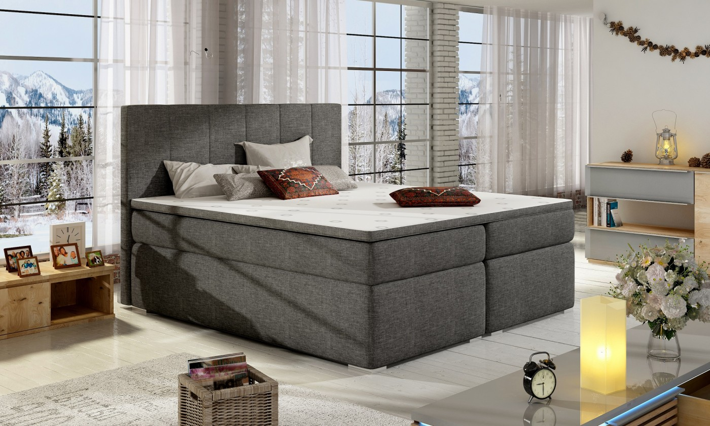 Ložnice ZLEVNĚNO Postel Boxspring Bolero 180x200, šedá, vč. matrace a úp