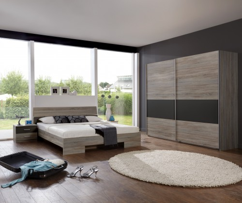 Ložnicový komplet Alina - Komplet 2, postel 160 cm (dub montana, lava černá)